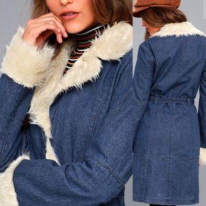 c391912cc0 Honey Punch Jackets & Coats   Faux Fur Trim Denim Coat   Poshmark